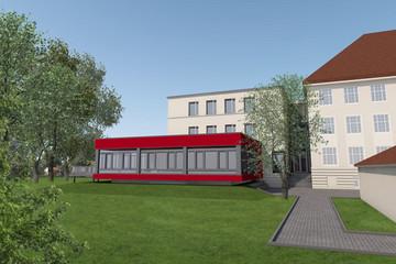 Bild wird vergrößert: Computervisualisierung des Erweiterungsbau der Alfred-Kästner-Grundschule in Lindenthal. Ein roter flache Anbau der der bereits bestehenden Schule.