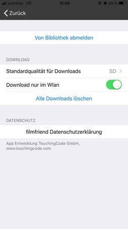 Bildschirmfoto der Einstellungen der filmfriend App