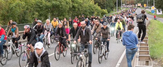 Viele Radfahrer in einer langen Schlange fahren gemeinsam auf einer Straße. Kein Auto ist zu sehen.