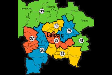 Bild wird vergrößert: Farbige Grafik Leipziger Landtagswahlkreise 2009