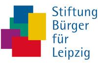 Logo Collage mit bunten Vierecken, daneben der Schriftzug Stiftung Bürger für Leipzig