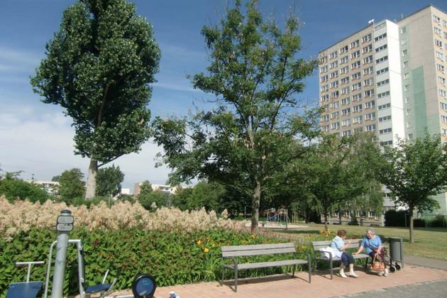 Grünanlage mit Gartenbank in Schönefeld
