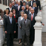 Gruppenbild von Vertretern verschiedener Städte im Rahmen einer Veranstaltung der EU-Ratspräsidentschaft Deutschland 2007 in Leipzig