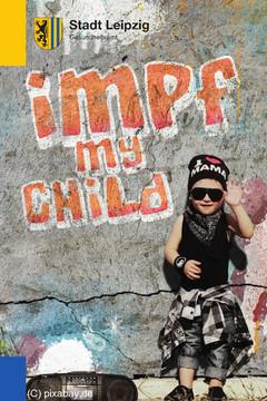 Bild wird vergrößert: kleiner Junge in Rapperkluft wirbt für Impfungen bei Kindern