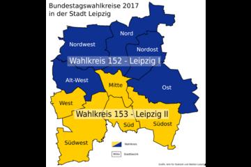 Bild wird vergrößert: Grafik mit den Leipziger Stadtbezirken und ihre Einteilung zur Bundestagswahl 2017 in zwei Wahlkreise.