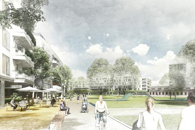Skizze einer Grünfläche mit Menschen und Spielplatz, daneben Gebäude mit Freisitzen