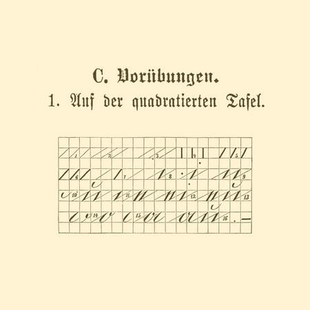 Übungstafel einer deutschen Fibel von 1886 mit Motiv Schreibübungen auf einer quadrierten Tafel.
