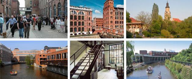 Bildcollage: Besucher in der Baumwollspinnerei, Buntgarnwerk Gebäudeansicht, Stelzenhaus in Plagwitz, Loft-Wohnung von innen.