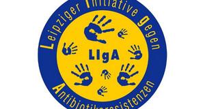 Logo LIgA(Leipziger Initiative gegen Antibiotikaresistenzen) mit blauen Handabdrücken auf gelbem Kreis