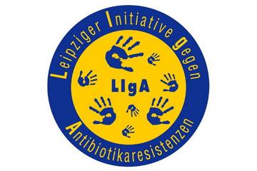 Bild wird vergrößert: Logo LIgA(Leipziger Initiative gegen Antibiotikaresistenzen) mit blauen Handabdrücken auf gelbem Kreis