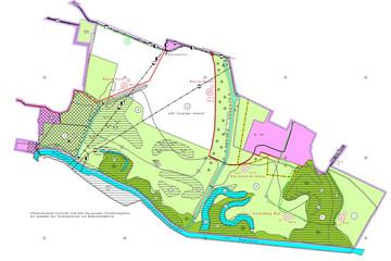 Bild wird vergrößert: Karte mit Wegen und Gewässern zum Flurbereinigungsverfahren Lützschena-Stahmeln