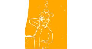 Auf gelben Hintergrund sieht man kindlich abstahiert eine Person neben einem Tisch stehen. Auf dem Tisch steht ein Telefon und die Person hält den Telefonhörer in der Hand. Die Person trägt einen Hut, lächelt und sieht den Betrachter an. Über dem Hut wurde ein Fragezeichen gemalt.