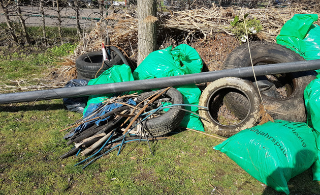 Eingesammelter Müll aus dem Elster-Saale Kanal zum Frühjahrsputz 2019.