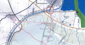 Karte mit Darstellung des Zwenkauer Sees in Überlagerung mit den alten Wegebeziehungen zwischen Leipzig-Hartmannsdorf und Zwenkau
