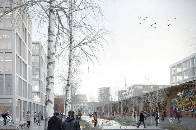 Winterlicher Entwurf des Eutritzscher Bahnhofs mit Blick auf den öffentlichen Raum (Mauer mit Graffitis, Bürogebäude mit großen Fenstern, Menschen in den Straßen), im Vordergrund eine kahle Birke