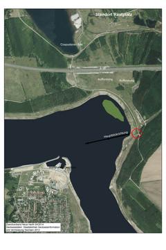 Bild wird vergrößert: Luftbild mit Kennzeichnung des Standortes des Rastplatzes am Ostufer mit Zwenkauer See und Waldgebiet Neue Harth