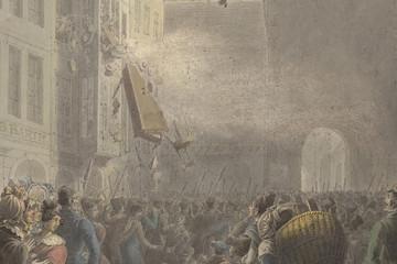 Bild wird vergrößert: Zeitgenössisches Aquarell aus dem Jahr 1830 von Georg Emanuell Opiz. Aufgebrachte Leipziger Bürger stürmen die Wohnung eines Polizeibeamten am Grimmaischen Tor