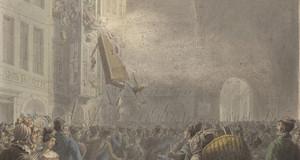 Zeitgenössisches Aquarell aus dem Jahr 1830 von Georg Emanuell Opiz. Aufgebrachte Leipziger Bürger stürmen die Wohnung eines Polizeibeamten am Grimmaischen Tor