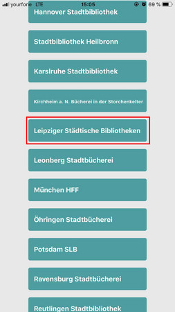 Bildschirmfoto der Auflistung der verfügbaren Bibliotheken in der filmfriend App