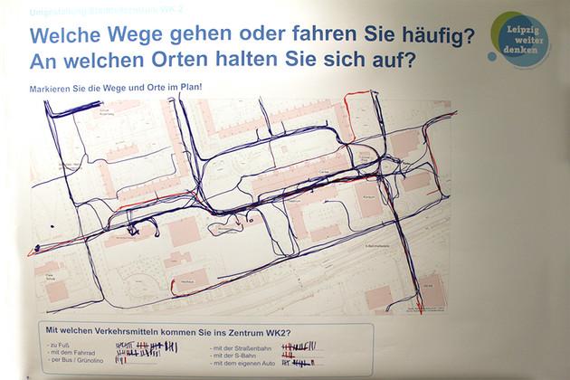 Karte aus der Bürgerwerkstatt Grünau. Eingezeichnet sind Wege, die die Teilnehmer häufig gehen oder fahren.