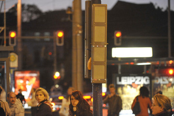 Bild wird vergrößert: Lautsprecher des Stadtfunks an einer Haltestelle