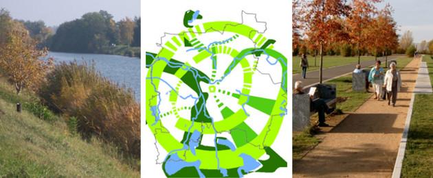 Leitbild Grünsystem: Graphik des Radial-Ring-Systems der Grünzüge, umrahmt von Fotos von Nahrerholungs- und Parkgebieten