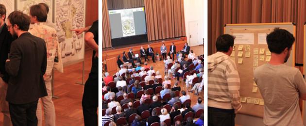 Dreigeteiltes Bild mit Impressionen des Bürgerforums: Meschen schauen sich Pläne an, gefüllter Veranstaltunssaal von oben, Menschen schauen sich Klebezettel an Wandtafeln an