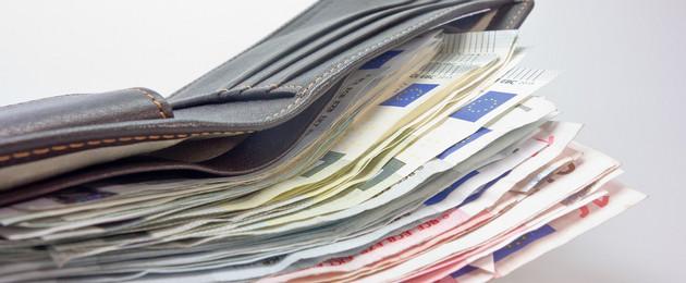 geöffnete Geldbörse mit Euroscheinen