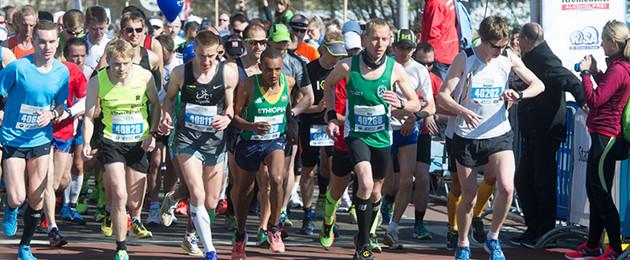 Starterpulk der Läufer zum Leipzig Marathon 2015