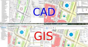 Screenshots verschiedener PC-Programme, in denen jeweils die Stadtgrundkarte bearbeitet wird