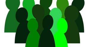 abstrakte grüne Figuren symbolisieren die Fachgruppen