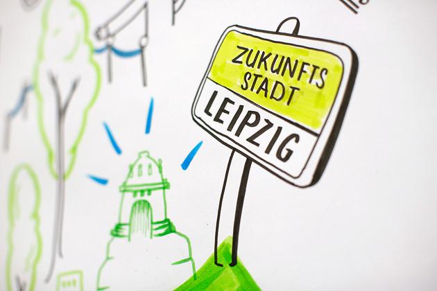 Gezeichneter Bildaussschnitt: Ein Straßenschild auf dem Zukunftsstadt steht