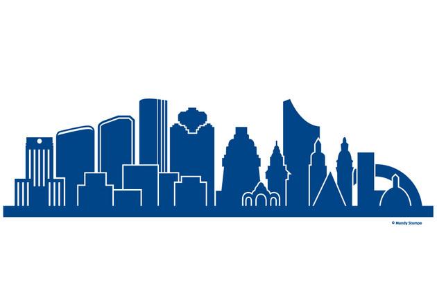 Links markante oder prägende Gebäude von Houston, rechts von Leipzig
