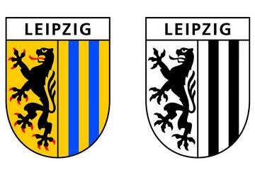 Bild wird vergrößert: Marketingwappen der Stadt Leipzig farbig und schwarz weiß mit Schriftzug Leipzig im Wappenschild