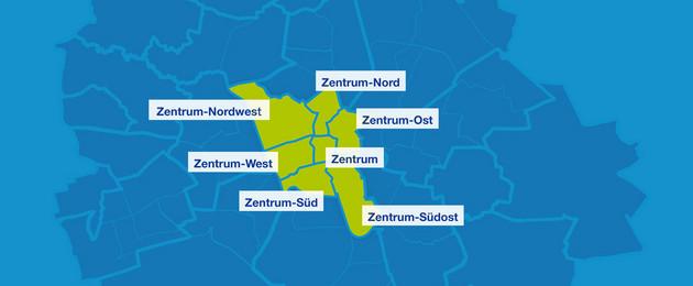 Karte mit den Umrissen der Leipziger Ortsteile. Hervorgehoben sind Zentrum-Nordwest, Zentrum-West, Zentrum-Süd, Zentrum-Südost, Zentrum, Zentrum-Ost und Zentrum-Nord.