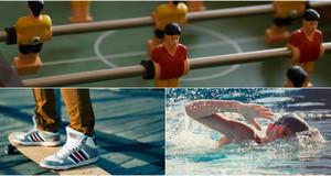 Collage mit einem Ausschnitt eines Tischkickers, Füßen auf einem Skateboard und einem schwimmenden Jungen.