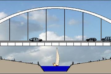 Bild wird vergrößert: Queransicht der Autobahnbrücke mit der Unterführung des im Bau befindlichen Harthkanals mit Segelboot