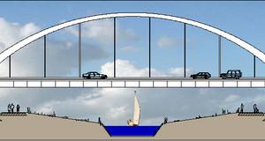 Queransicht der Autobahnbrücke mit der Unterführung des im Bau befindlichen Harthkanals mit Segelboot