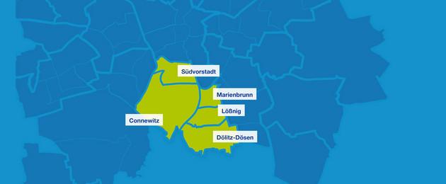 Karte mit den Umrissen der Leipziger Ortsteile im Süden. Hervorgehoben sind Südvorstadt, Connewitz, Marienbrunn, Lößnig und Dölitz-Dösen