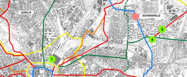 Ausschnitt aus dem Standortplan der Bike and Ride Stationen