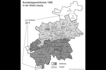Bild wird vergrößert: Karte mit den Bundestagswahlkreisen 1998 in der Stadt Leipzig.