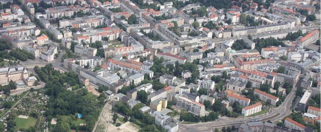 Luftbildaufnahme des Waldstraßen- Bachstraßenviertels