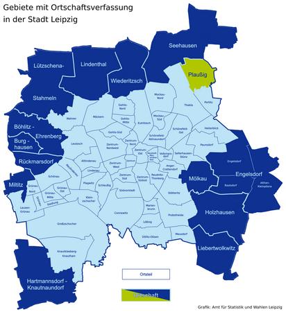 Karte der Leipziger Ortsteile und Ortschaften - Plaussig hervorgehoben