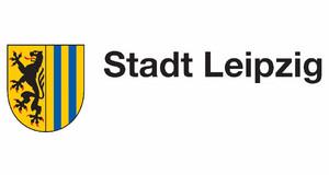 Stadtwappen der Stadt Leipzig mit Schriftzug Stadt Leipzig