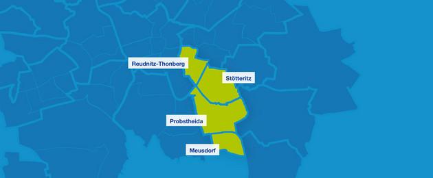 Karte mit den Umrissen der Leipziger Ortsteile im Südosten. Hervorgehoben sind Reudnitz-Thonberg, Stötteritz, Porbstheida und Meusdorf