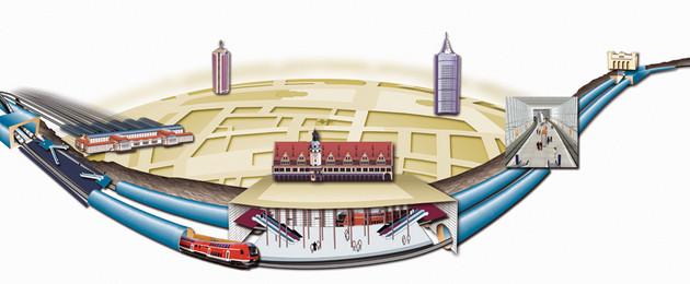 Grafik City-Tunnel Leipzig mit den Stationen Hauptbahnhof, Markt, Wilhelm-Leuschner-Platz und Bayerischer Bahnhof