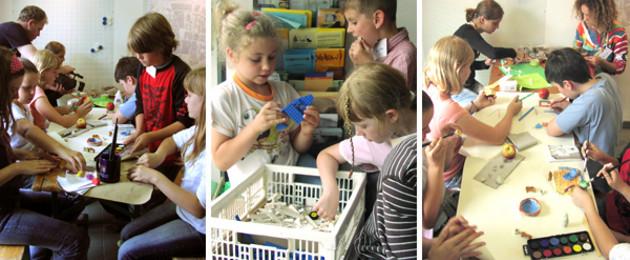 Fotocollage: Kinder basteln verschiedene Entwürfe für Spielmöglichkeiten zur Kinderwerkstatt Spielen in der Innenstadt.