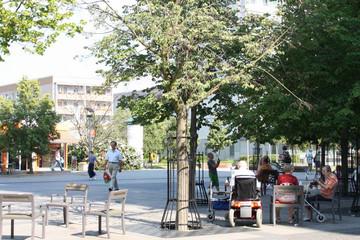 Bild wird vergrößert: Mehrere ältere Bürger sitzen unter Bäumen auf dem Marktplatz in Grünau