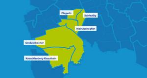 Karte mit den Umrissen der Leipziger Ortsteile im Südwesten. Hervorgehoben sind Plagwitz, Schleußig, Kleinzschoche, Großzschocher und Knautkleeberg-Knauthain