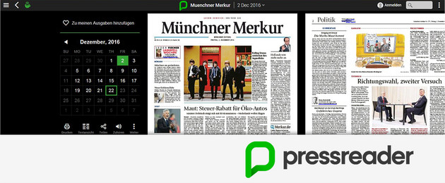 Bildschirmfoto der Pressreader Website mit Pressreader Logo